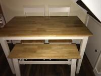 Dining table, two chairs and bench