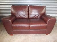 Mahogany Brown 2-seater Leather Sofa