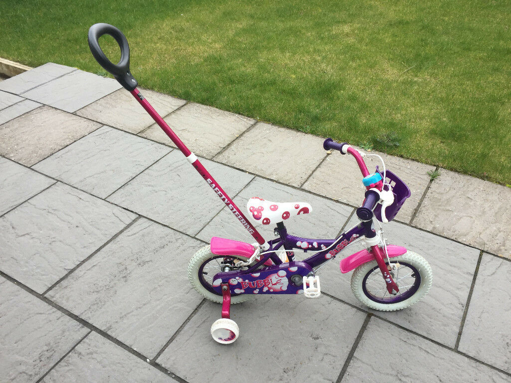 9064ddea5eb Girls 12 inch bike with parent steering handle, stabilisers and bell | in  ...