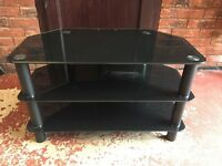 """Black Glass TV Stand - Suitable for up to 42"""" TV"""