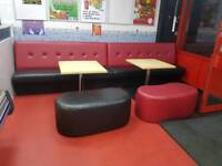 Upholstery Seating 3 x long seats Restaurant Takeaway 4x table 4x beanie seats