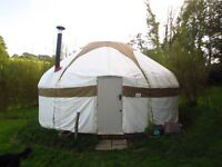 Stunning 5m / 18ft white canvas yurt, £2950, insulated floor, woodturning stove & furniture also a/v