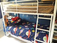 WHITE METAL BUNK BEDS 3FT