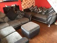 DFS 3 piece suite corner sofa/sofa & pouffe