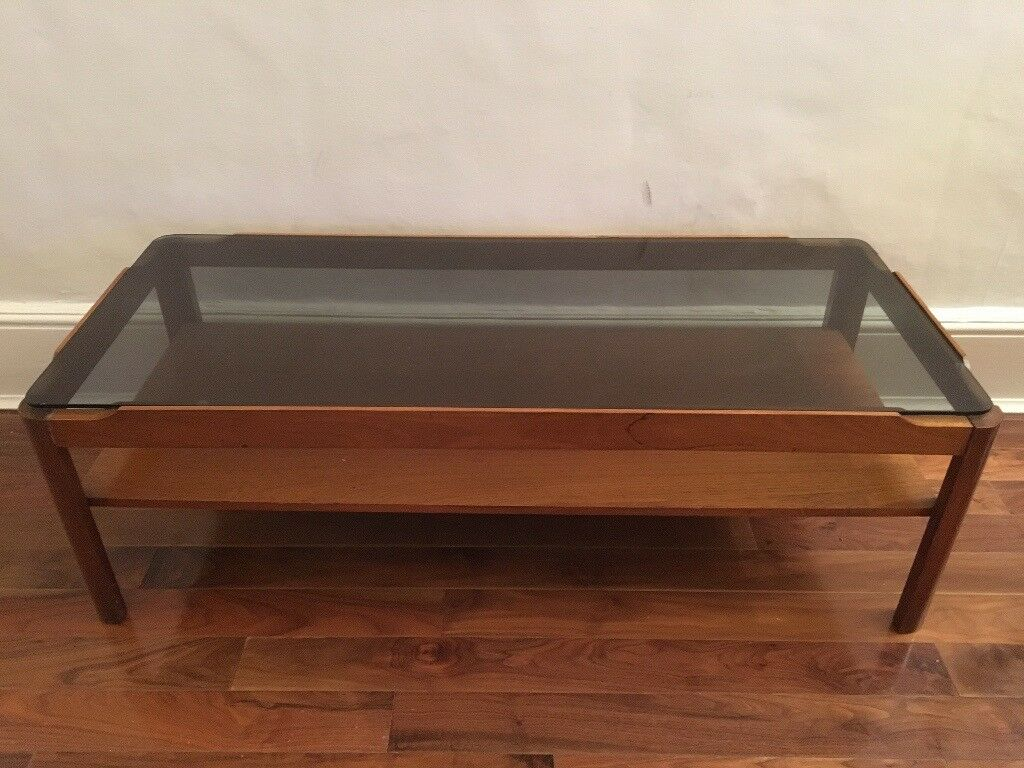 Myers Co 1970s Teak Smoked Gl Top Coffee Table Retro Vintage 30