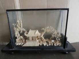 Chinese cork diorama + small Chinese vase