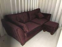 Large 3 - 4 Seater Purple Sofa From Cousins With Footstool / Corner Sofa