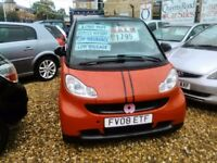 2008 smart fortwo coupe 999 cc petrol ideal first car 2 seater semi automatic only 59.000 miles