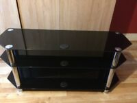 TV STAND -LARGE BLACK GLASS