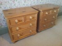 Matching antique style solid pine bedside tables