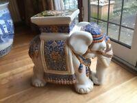 Large Ceramic Elephant Stool, side table