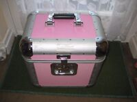 Small Pink Plastic and Chrome Travel Trunk