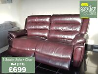 Designer Chestnut Leather 3 seater sofa + chair (118) £699