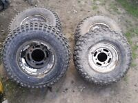 Kawasaki klf 220 wheels and tyres 22/11/10 rears 21/8/9 front tyres very good treads
