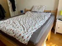 Kingsize bed wood frame and mattress