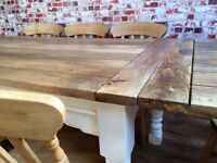 Farmhouse Extending Dining Table Set with Antique Chairs Up to Twelve Seater Rustic