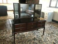 STAG MINSTREL WOOD DRESSING TABLE 3 MIRRORS STOOL DESK CONSOLE HALL