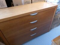 Large 4 Drawer Chest of Drawers, Oak Linen / Blanket Chest