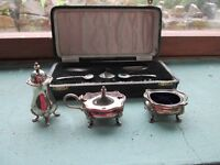Salt, pepper and mustard condiment set for sale