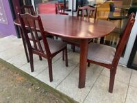 Dark wood kitchen table and chair set