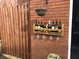 Rustic chic wine rack and glass holder