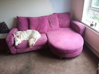 Pink dfs sofa and cuddle sofa