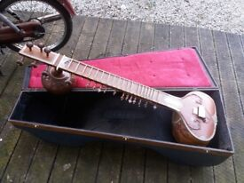 Indian sitar with funky case