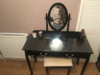 Black glass top dressing table and chair