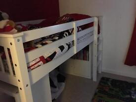 White wooden mid sleeper single bed
