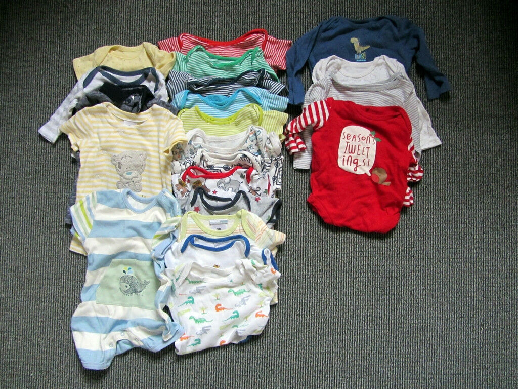 Large bundle of baby boy clothes and accessories newborn to 6 months