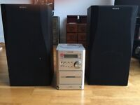 Sharp compact Stereo and Sony Speakers. Incl CD player.