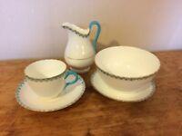 Blue and gold tea set