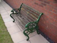 Cast Iron Garden Bench with Lions Head motif with wooden slats
