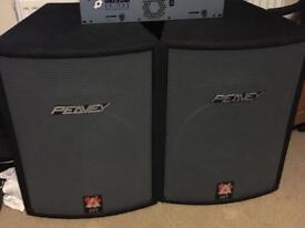 Peavey 350watt speakers, newmark mixer, sound lab amp