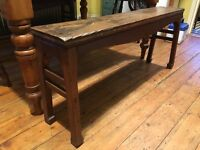 ANTIQUE PAIR OF WOODEN BENCHES