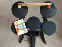 Wii band hero game and drum kit