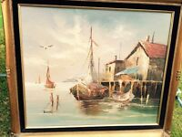 Oil painting of boat