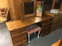 NICE PINE DRESSING TABLE WITH MIRROR AND STOOL
