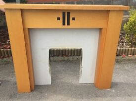Brown Wooden Fireplace Surround