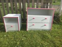 WHITE AND PINK CHEST OF DRAWERS AND BEDSIDE TABLE