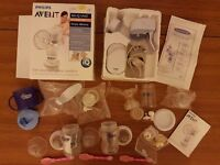 PHILIPS AVENT ISIS UNO BREAST PUMP MAINS & BATTERY PACK & added FREE:bottles,teets,cup,spoons etc