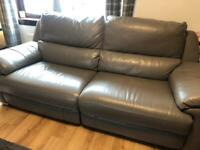 Grey real leather sofa electric recliners
