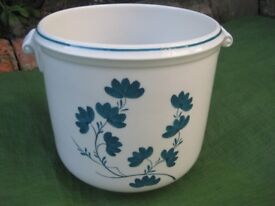 White China Plant Pot with Blue Floral and Leaf Decoration