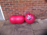 """Childrens Space Hopper and """"peanut"""" exercise ball"""