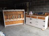 Large Welsh dresser shabby chic with cupboards & draws