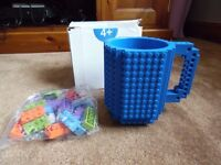 Blue Building (LEGO) Brick Mug brand new never used with bricks