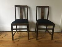 Pair of 1940s Ercol Art Deco Kitchen Dining Chairs