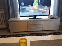White gloss Ikea besta burs tv unit and matching wall unit