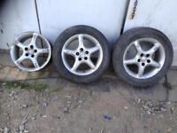 3x Toyota Avensis Mk1 MK2 Alloy wheels with tyres 195/60/15
