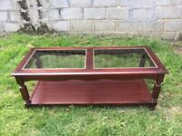 Brown with Glass Top Coffee Table
